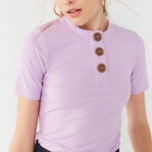 UO Rina Ribbed Knit Button-Down Tee